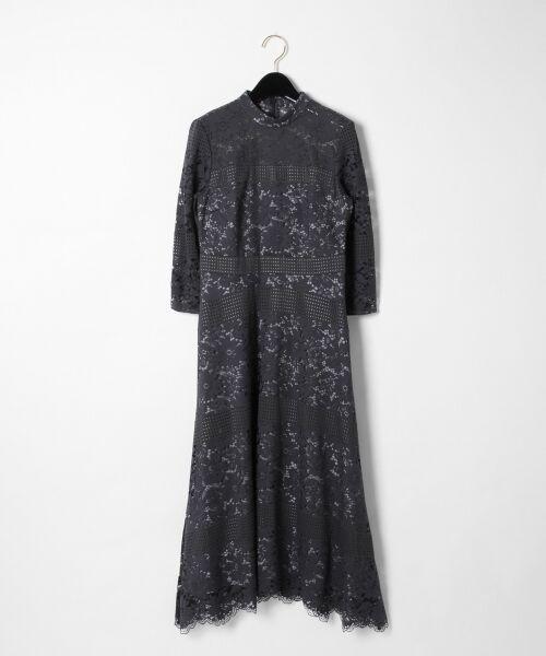 GRACE CONTINENTAL / グレースコンチネンタル ドレス | ハイネックレースワンピース(グレー)