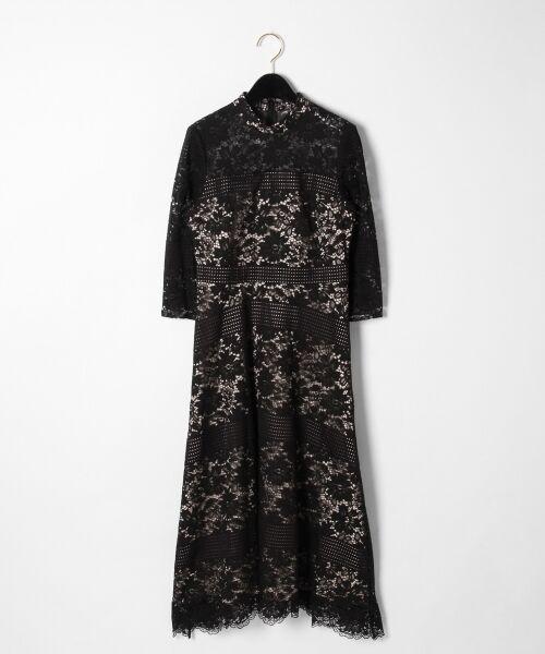 GRACE CONTINENTAL / グレースコンチネンタル ドレス | ハイネックレースワンピース(ブラック)