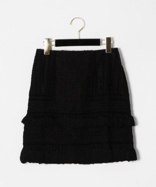 GRACE CONTINENTAL / グレースコンチネンタル ミニ・ひざ丈スカート | タッセル刺繍ミニスカート(ブラック)
