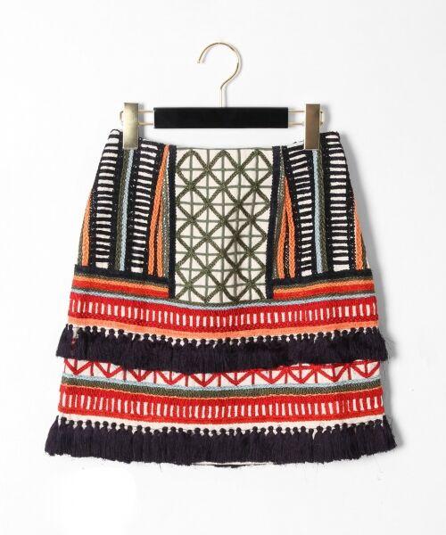 GRACE CONTINENTAL / グレースコンチネンタル ミニ・ひざ丈スカート | タッセル刺繍ミニスカート(マルチ)