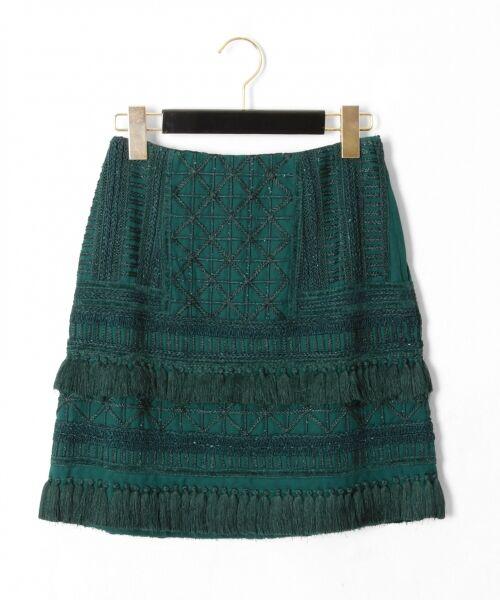 GRACE CONTINENTAL / グレースコンチネンタル ミニ・ひざ丈スカート | タッセル刺繍ミニスカート(グリーン)