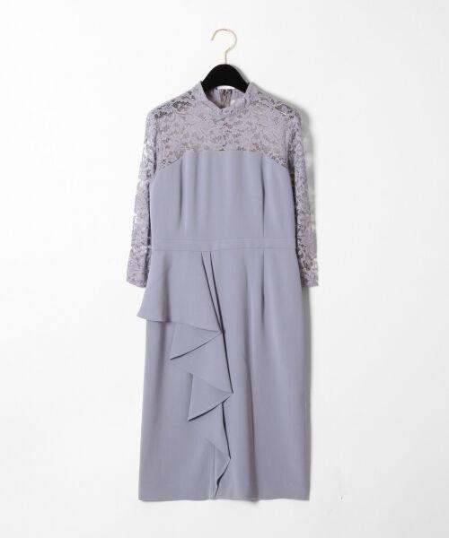 GRACE CONTINENTAL / グレースコンチネンタル ドレス | ペプラムドレープワンピース(グレー)