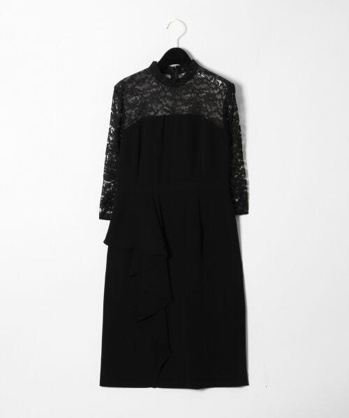 GRACE CONTINENTAL / グレースコンチネンタル ドレス | ペプラムドレープワンピース(ブラック)
