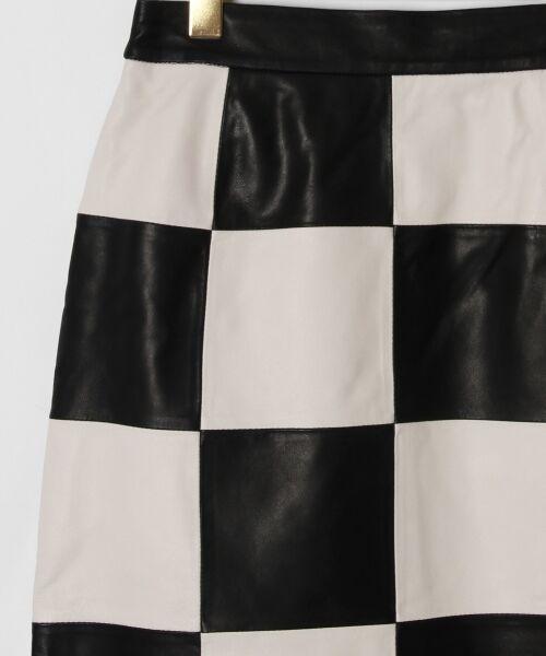 GRACE CONTINENTAL / グレースコンチネンタル ミニ・ひざ丈スカート | 市松レザースカート | 詳細5