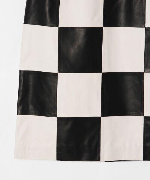 GRACE CONTINENTAL / グレースコンチネンタル ミニ・ひざ丈スカート | 市松レザースカート | 詳細6