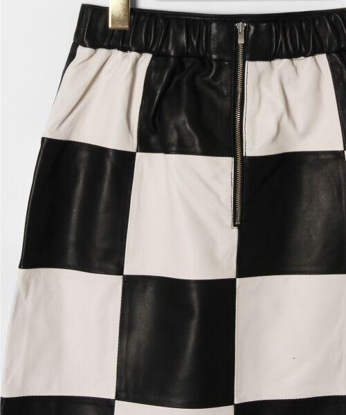 GRACE CONTINENTAL / グレースコンチネンタル ミニ・ひざ丈スカート | 市松レザースカート | 詳細9