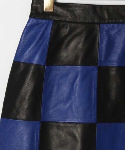 GRACE CONTINENTAL / グレースコンチネンタル ミニ・ひざ丈スカート | 市松レザースカート | 詳細10