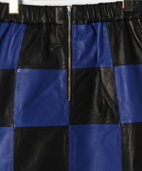 GRACE CONTINENTAL / グレースコンチネンタル ミニ・ひざ丈スカート | 市松レザースカート | 詳細13