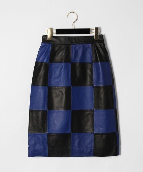GRACE CONTINENTAL / グレースコンチネンタル ミニ・ひざ丈スカート | 市松レザースカート(ブルー)