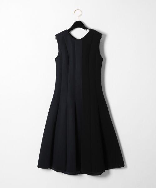 GRACE CONTINENTAL / グレースコンチネンタル ミニ丈・ひざ丈ワンピース   ボンディング切替ドレス(ネイビー)