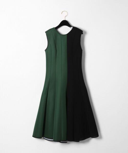 GRACE CONTINENTAL / グレースコンチネンタル ミニ丈・ひざ丈ワンピース   ボンディング切替ドレス(グリーン)