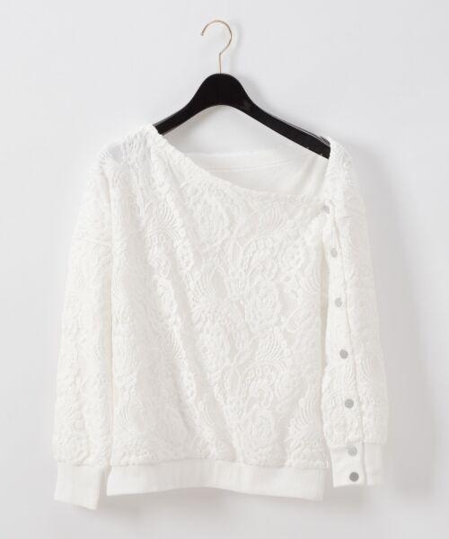 GRACE CONTINENTAL / グレースコンチネンタル Tシャツ   ワンショルレーストップ(キナリ)