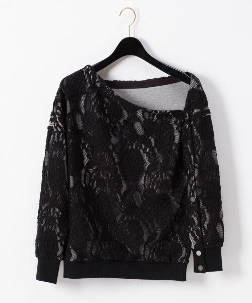 GRACE CONTINENTAL / グレースコンチネンタル Tシャツ   ワンショルレーストップ(ブラック)