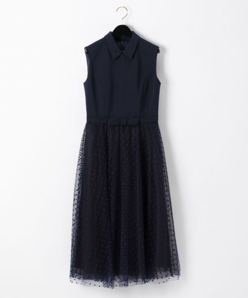 GRACE CONTINENTAL / グレースコンチネンタル ドレス | 配色ドットチュールドレス(ネイビー)