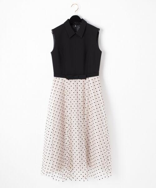 GRACE CONTINENTAL / グレースコンチネンタル ドレス | 配色ドットチュールドレス(ブラック)