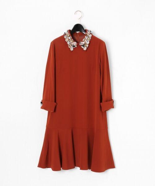 GRACE CONTINENTAL / グレースコンチネンタル ドレス | ビジューカラーワンピース(ブラウン)