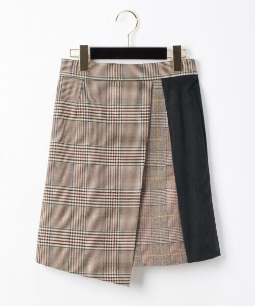 GRACE CONTINENTAL / グレースコンチネンタル ミニ・ひざ丈スカート | チェック切替ミニスカート(グリーン)