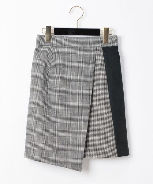 GRACE CONTINENTAL / グレースコンチネンタル ミニ・ひざ丈スカート | チェック切替ミニスカート(ブラック)
