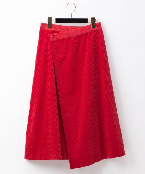 GRACE CONTINENTAL / グレースコンチネンタル ミニ・ひざ丈スカート | コーデュロイラップスカート(レッド)