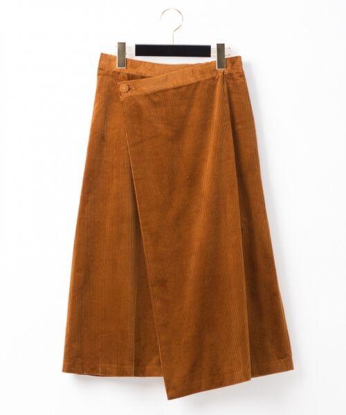 GRACE CONTINENTAL / グレースコンチネンタル ミニ・ひざ丈スカート | コーデュロイラップスカート(ブラウン)