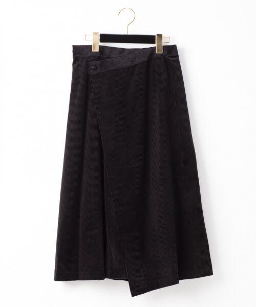 GRACE CONTINENTAL / グレースコンチネンタル ミニ・ひざ丈スカート | コーデュロイラップスカート(ブラック)