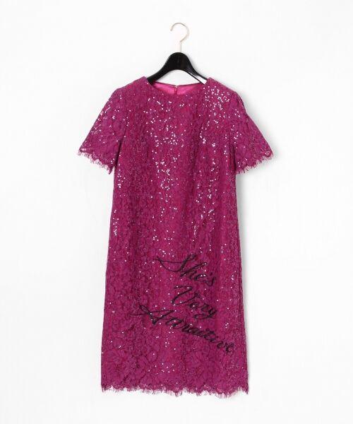 GRACE CONTINENTAL / グレースコンチネンタル ドレス | スパン刺繍レースミニワンピース(パープル)