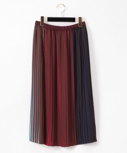 GRACE CONTINENTAL / グレースコンチネンタル ミニ・ひざ丈スカート | バイカラープリーツ配色スカート(ブラウン)