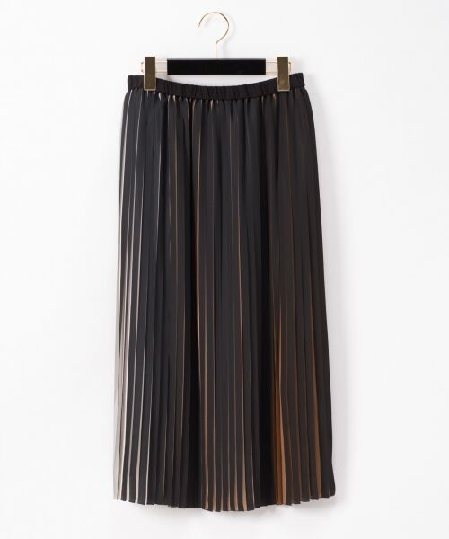 GRACE CONTINENTAL / グレースコンチネンタル ミニ・ひざ丈スカート | バイカラープリーツ配色スカート(ブラック)