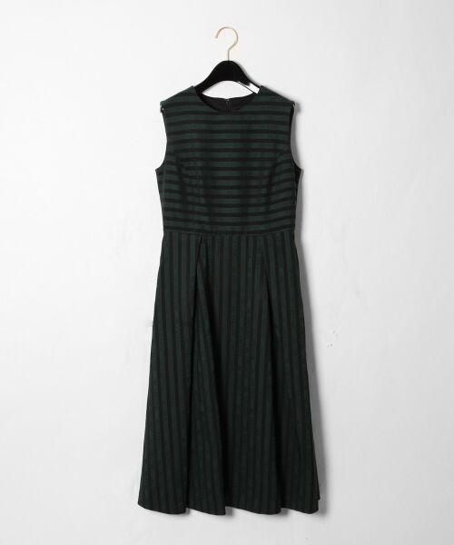 GRACE CONTINENTAL / グレースコンチネンタル ドレス | ラインロゴジャガードドレス(グリーン)