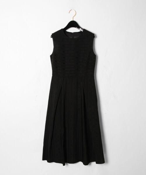 GRACE CONTINENTAL / グレースコンチネンタル ドレス | ラインロゴジャガードドレス(ブラック)