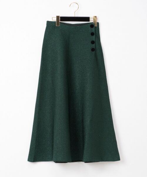 GRACE CONTINENTAL / グレースコンチネンタル ミニ・ひざ丈スカート | ラメニットスカート(グリーン)