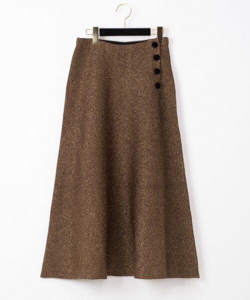 GRACE CONTINENTAL / グレースコンチネンタル ミニ・ひざ丈スカート | ラメニットスカート(ゴールド)