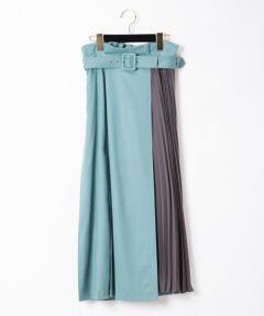 ウールサキソニー素材を使用したシーズンスタイルにぴったりな新型ロングスカート。<br />モダンな配色カラーや、プリーツスカートとラップスカートをレイヤードしたかのような新鮮なデザインが視線を惹き付けます。<br />ハイウストタイプでスタイルアップ効果も◎<br />遊び心たっぷりに仕上げた、大人っぽさとモード感を両立させた一着です。