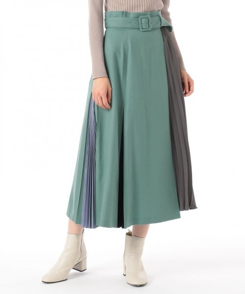 GRACE CONTINENTAL / グレースコンチネンタル ミニ・ひざ丈スカート | 配色マチプリーツスカート | 詳細1