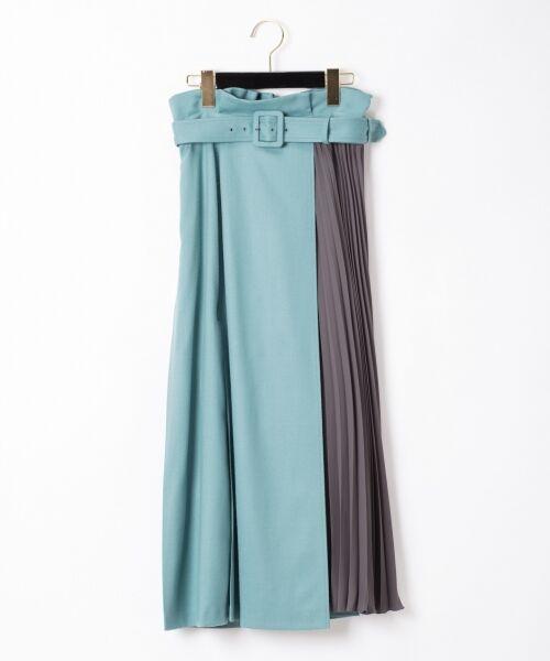 GRACE CONTINENTAL / グレースコンチネンタル ミニ・ひざ丈スカート | 配色マチプリーツスカート(ブルー)