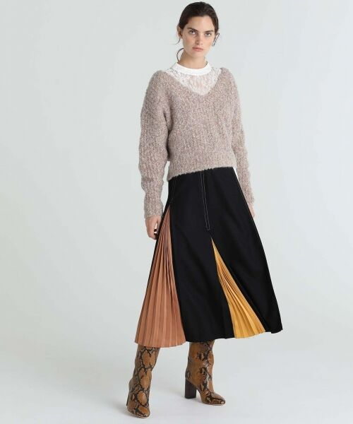 GRACE CONTINENTAL / グレースコンチネンタル ミニ・ひざ丈スカート | 配色マチプリーツスカート | 詳細13
