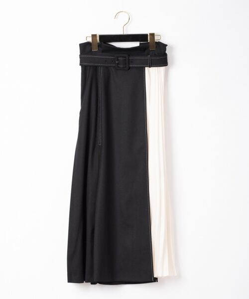 GRACE CONTINENTAL / グレースコンチネンタル ミニ・ひざ丈スカート | 配色マチプリーツスカート(ブラック)