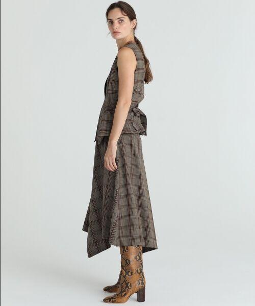 GRACE CONTINENTAL / グレースコンチネンタル ミニ・ひざ丈スカート | アシメチェックスカート | 詳細3