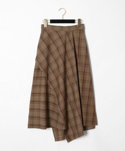 GRACE CONTINENTAL / グレースコンチネンタル ミニ・ひざ丈スカート | アシメチェックスカート(キャメル)