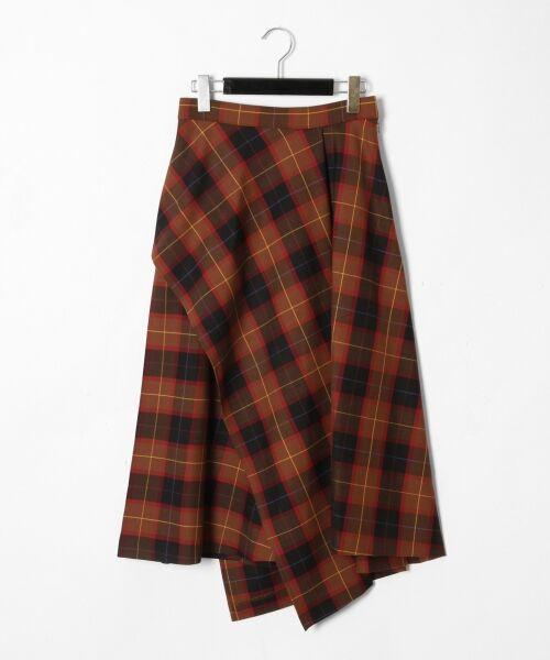 GRACE CONTINENTAL / グレースコンチネンタル ミニ・ひざ丈スカート | アシメチェックスカート(ブラウン)