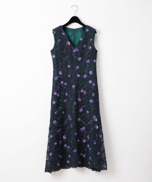 GRACE CONTINENTAL / グレースコンチネンタル ドレス | チェリーレースドレス(グリーン)