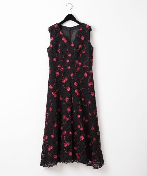 GRACE CONTINENTAL / グレースコンチネンタル ドレス | チェリーレースドレス(ブラック)
