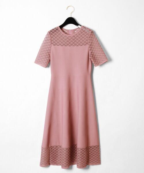 GRACE CONTINENTAL / グレースコンチネンタル ドレス | シアーニットドレス(ピンク)
