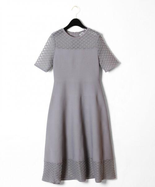 GRACE CONTINENTAL / グレースコンチネンタル ドレス | シアーニットドレス(グレー)