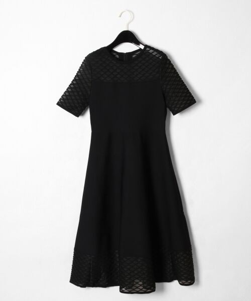 GRACE CONTINENTAL / グレースコンチネンタル ドレス | シアーニットドレス(ブラック)
