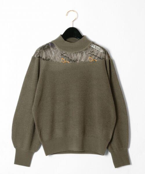 GRACE CONTINENTAL / グレースコンチネンタル ニット・セーター | サングラスレースニットトップ(カーキ)