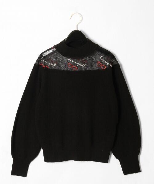 GRACE CONTINENTAL / グレースコンチネンタル ニット・セーター | サングラスレースニットトップ(ブラック)