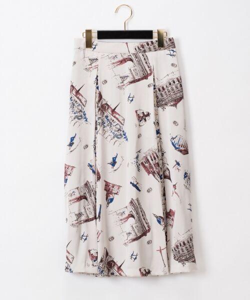 GRACE CONTINENTAL / グレースコンチネンタル ミニ・ひざ丈スカート   コンビプリントスカート(ブルー)