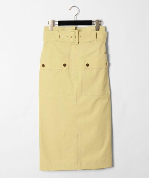 GRACE CONTINENTAL / グレースコンチネンタル ミニ・ひざ丈スカート   フロントポケットタイトスカート(イエロー)