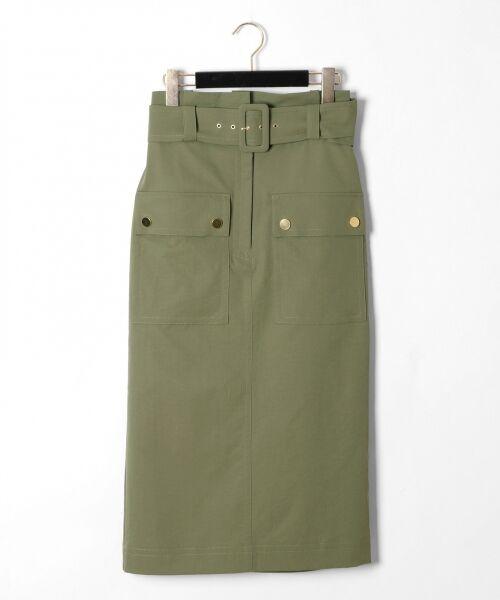 GRACE CONTINENTAL / グレースコンチネンタル ミニ・ひざ丈スカート | フロントポケットタイトスカート(カーキ)